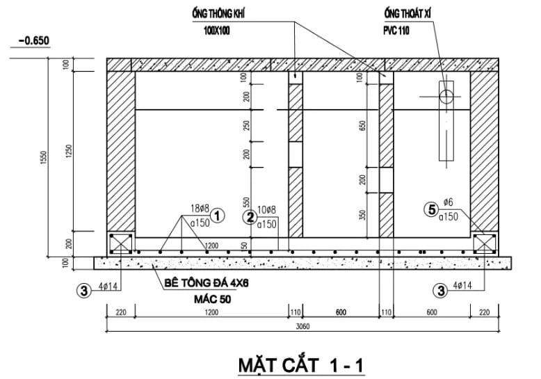sơ đồ cấu tạo bể phốt 3 ngăn thông dụng nhất