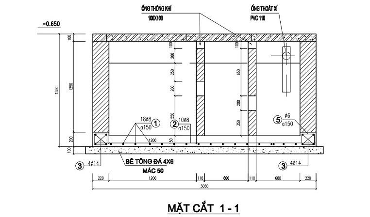 thiết kế bể phốt 3 ngăn